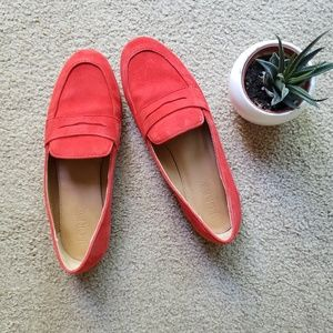 Red J. Crew suede loafers size 6